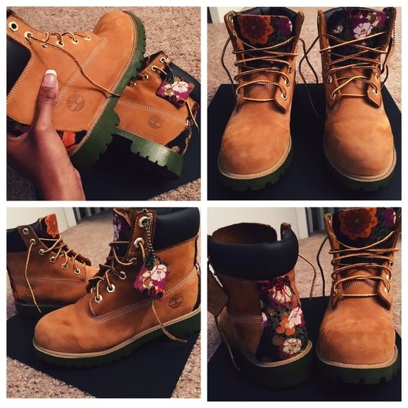 Custom Timberland boots Customs! These are for sale, size 5Y , but I can also customize any boot/sneaker. Timberland Shoes Lace Up Boots