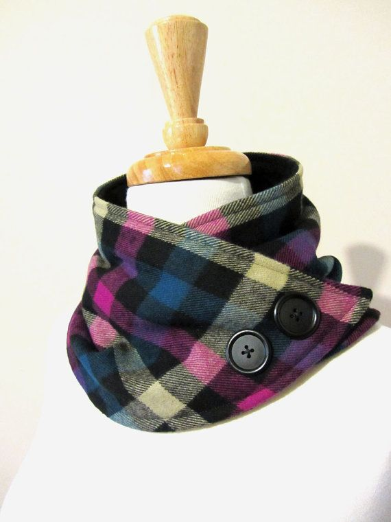 Scarf Wrap Neck Warmer Magenta Pink and Turquoise Checker Tartan  with Buttons