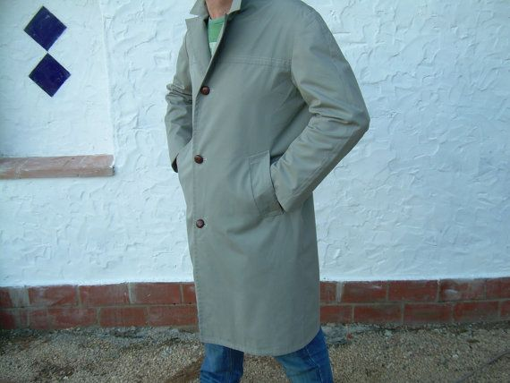 Mens Rain coat  Trench coat  over coat  grey / green  by csclothes