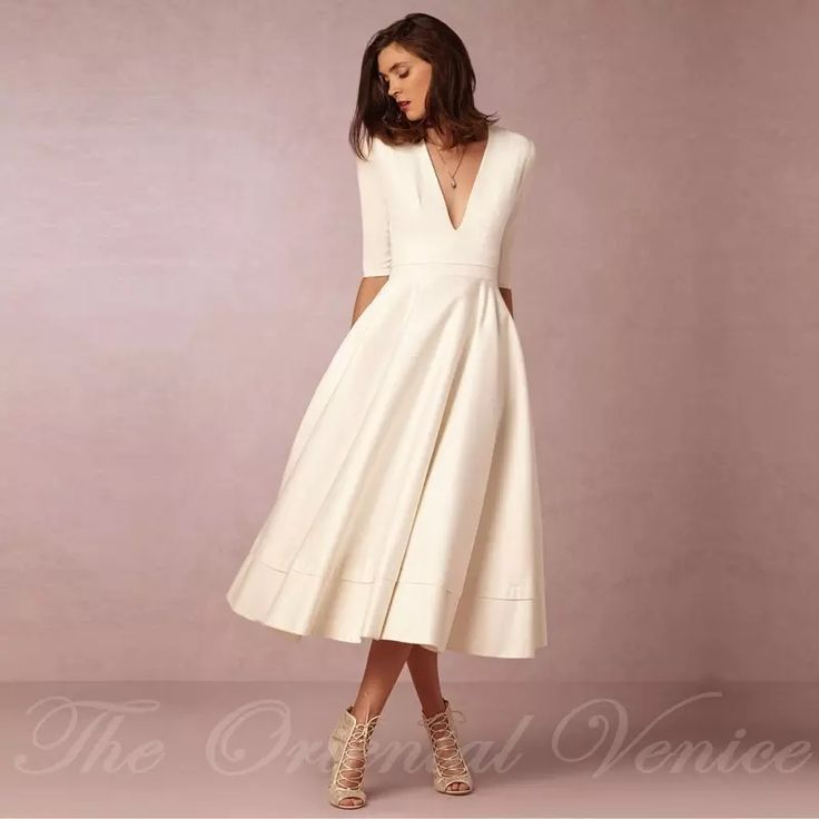 Discount Vintage 1950'S Tea Length Short Wedding Dress With Sleeves 2016 Vestido…