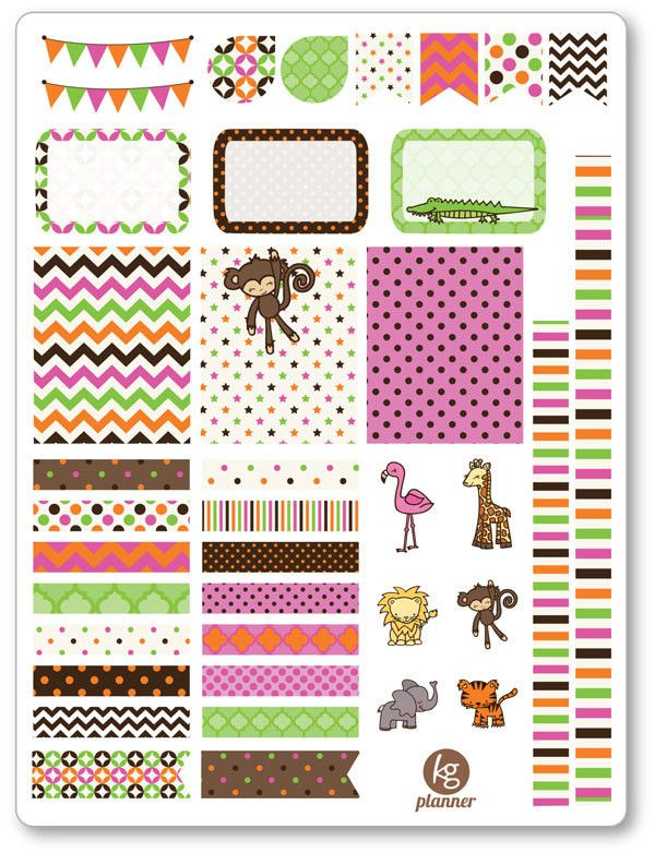 Baby Safari Decorating Kit / Weekly Spread Planner Stickers