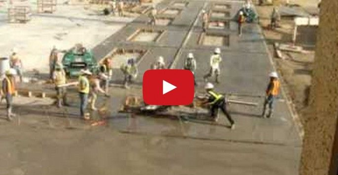 Guys can't stop laughing at 15 construction workers trying to stop an out-of-control concrete grinder