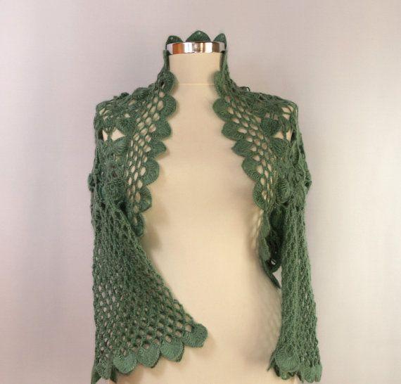 Aquarius sogna / uncinetto scrollata pizzo Bolero giacca menta verde giada fiore di 3/4 S-M-L scrollata da Damigella Capelet nuziale di Lili...