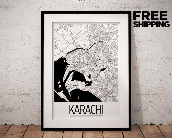 Karachi Map Poster - pakistan Map Print - Art Deco Series