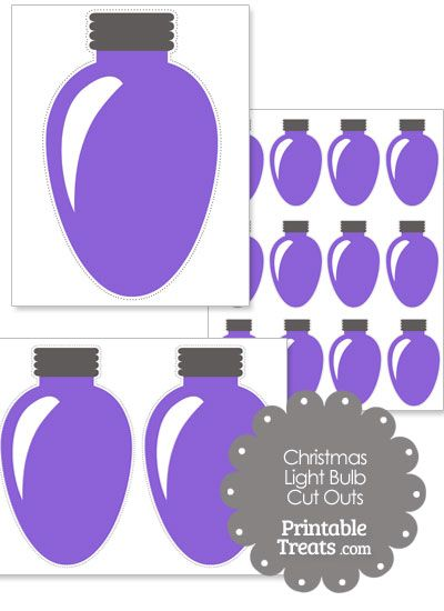 Here are some fun purple Christmas light bulb cut outs you can use to make  Christmas card decorations, gift tags, and more. These printable purple  Christmas ...