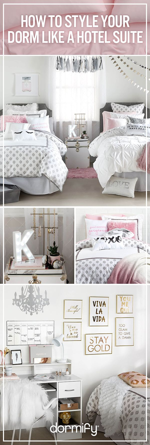 Design your dorm to be a hotel suite you'll never want to check out of. Head to dormify.com to style now!