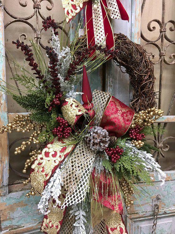 Christmas Wreath Christmas Door Decor Christmas Decor   Etsy - Christmas Wreath Christmas Door Decor Christmas Decor Etsy