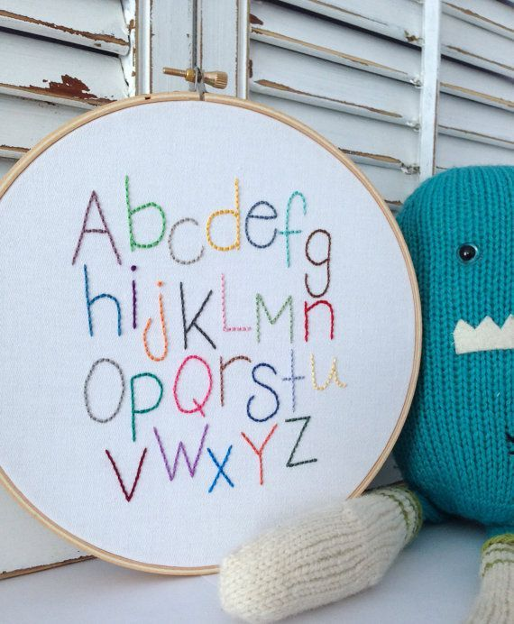 Your Little One Will Love These 8 Gender Neutral Nurseries: READY TO SHIP . Alphabet Hand Embroidery . Nursery Decor
