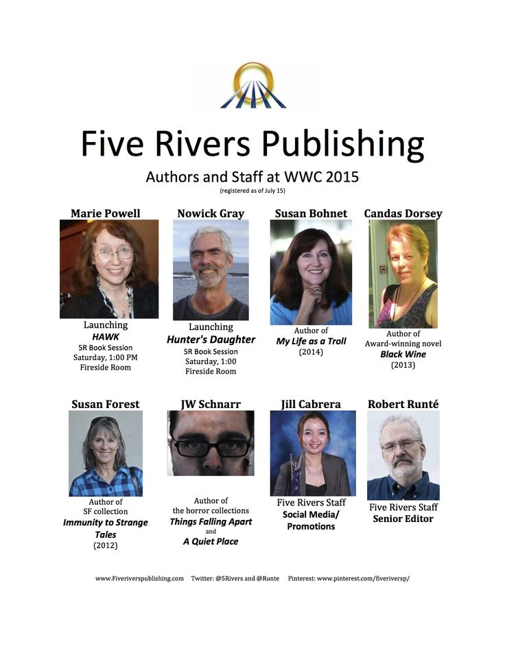 Five Rivers staff and authors at When Words Collide convention. Look for these faces on various panels, and come to the 5R book launch at 1PM Saturday.