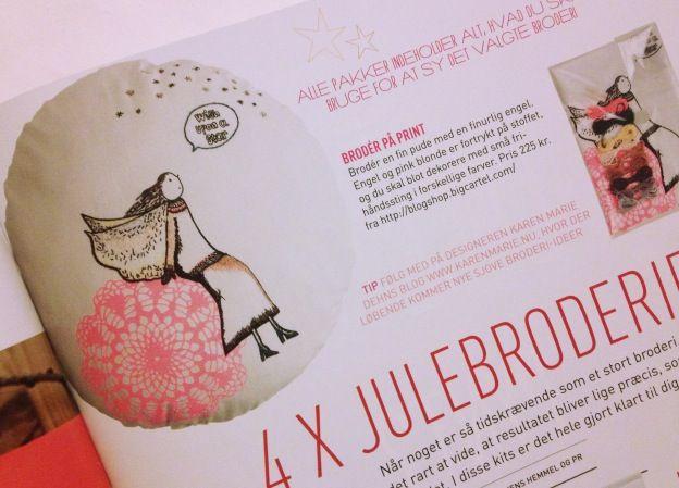 """Foto af jule broderikit præsenteret i det nye magasin """"Sally"""" oktober 2013. Fotograf: Susanne Randers"""