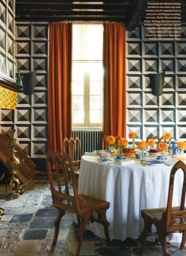 Demeyer Furniture Website. Demeyer Dining Bold Geometric Patterned Orange  Chiviari Skirted Round Eclectic Furniture Website