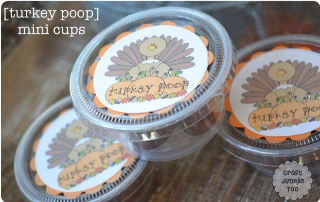 [Turkey Poop Mini Cups] with 810 Poem includes Free Printables
