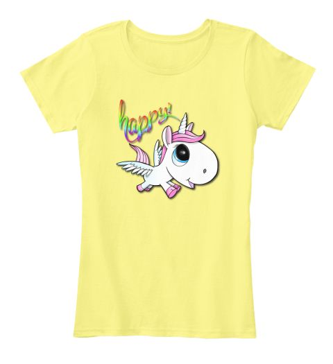 Happy Unicorn T Shirt! Lemon Yellow Women's T-Shirt Front