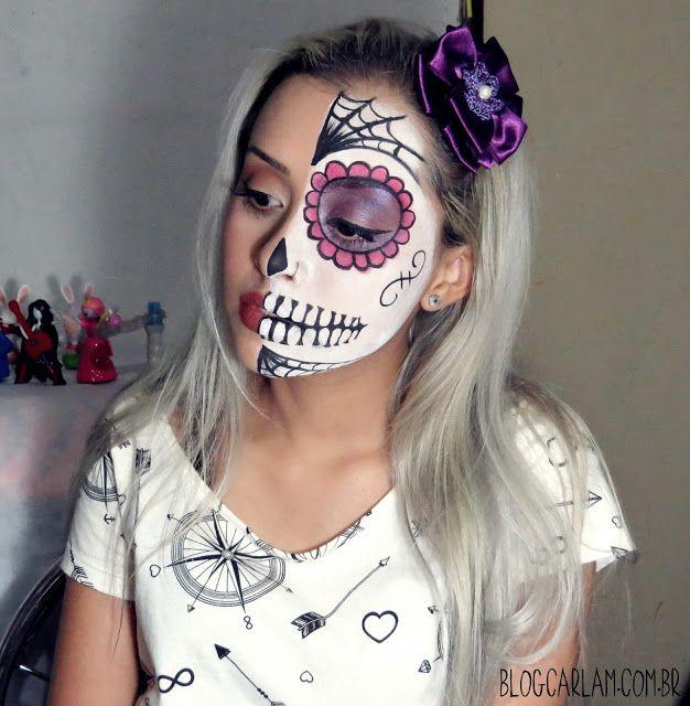 Olá pessoal! Hoje o vídeo é mais um tutorial de Halloween .  Vocês vão conferir como eu fiz essa maquiagem de Caveira Mexicana , ela não ...