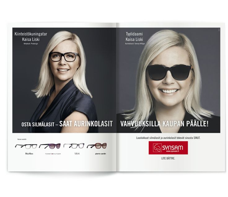 Upea kiinteistökuningatar Kaisa Liski kevään aurinkolasikampanjan mallina. / Synsam