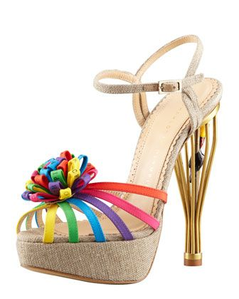 Birds of Paradise Cage-Heel Sandal by Charlotte Olympia at Bergdorf Goodman.