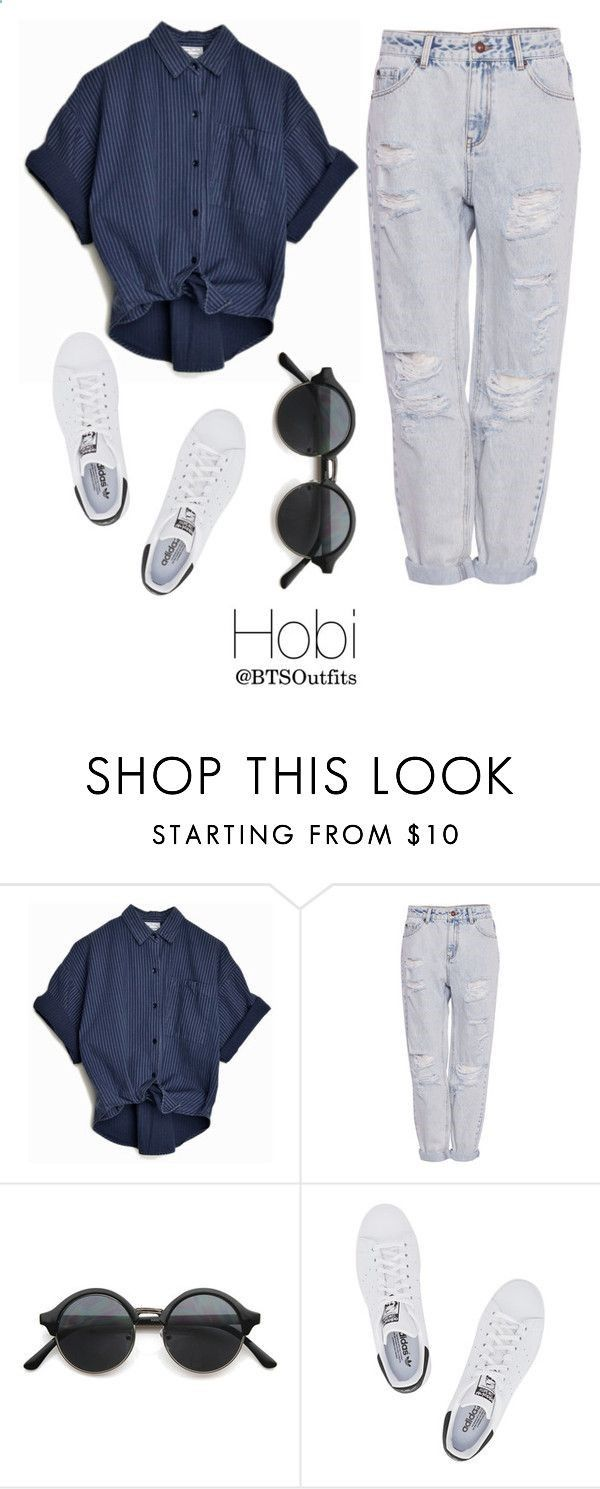 Combine Jewelry With Clothing - Picking Fruit with Hobi by btsoutfits ❤ liked on Polyvore featuring PullBear and adidas Originals - The jewels are essential to finish our looks. Discover the best tricks to combine jewelry with your favorite items
