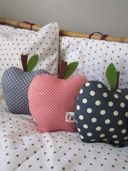 Ideas para el hogar: Almohadones en forma de manzana costura y molde