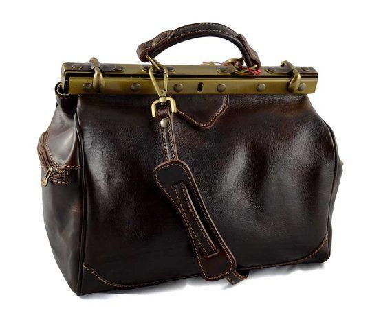 Ladies leather handbag doctor bag handheld shoulder bag black brown dark brown made in Italy genuine leather bag
