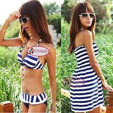 Nautical Stripes Push Up Bikini Set Cover Up Dress Swimsuit Bathing Suit SW202