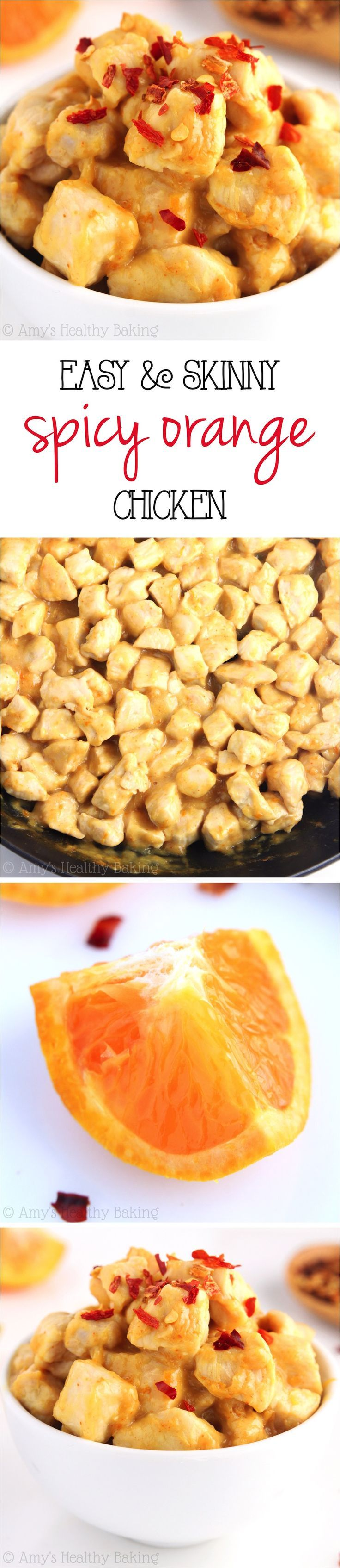 Skinny Spicy Orange Chicken -- only 7 ingredients & 20 minutes! SO easy, healthy & it tastes a million times better than take-out!