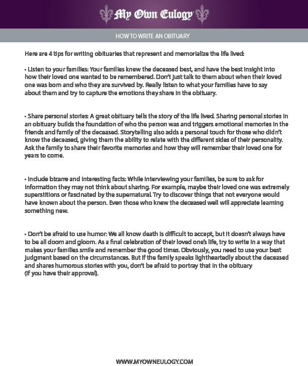 obituary writing tips