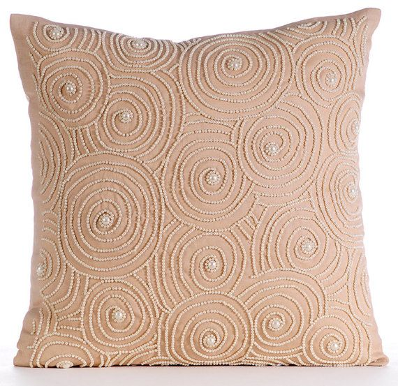 Decorative Throw Pillow Covers Accent Couch Toss Pillows 16x16 Inches Beige Linen Pillow Cover Pearl Beads Embroidery Spiral Revolution