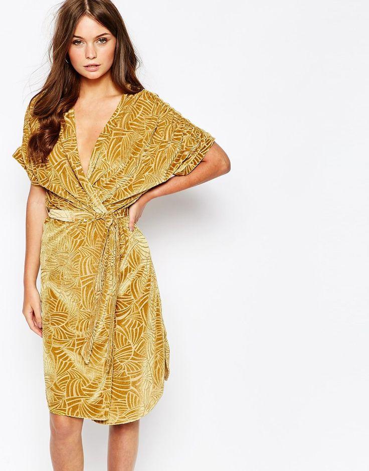 First and I Devore Kimono Sleeve Wrap Dress