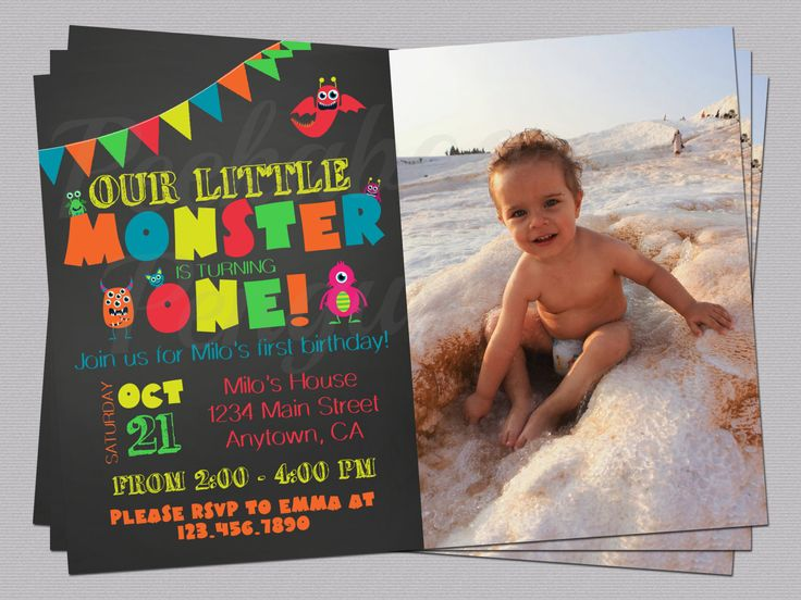 Monster Birthday Invitation, Monster Invite With Photo, Photo Birthday Invitation, Printable Birthday Invites, First Birthday Invitation by PeekabooPenguin on Etsy