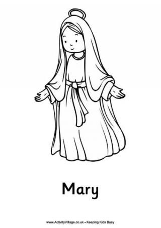Nativity Colouring Pages Mary