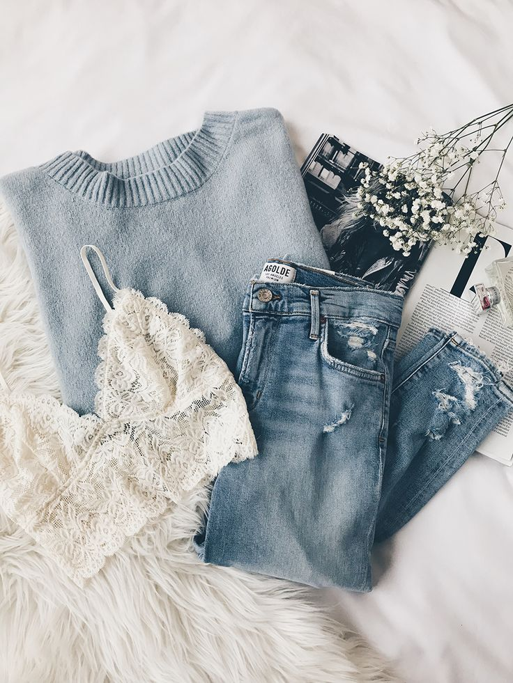 Grey blue knit with cream lace bra and dark wash boyfriend jeans