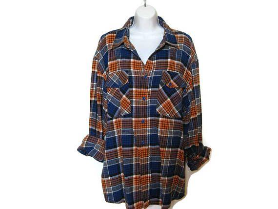 RAD 90s vintage orange royal blue plaid flannel shirt  1990s