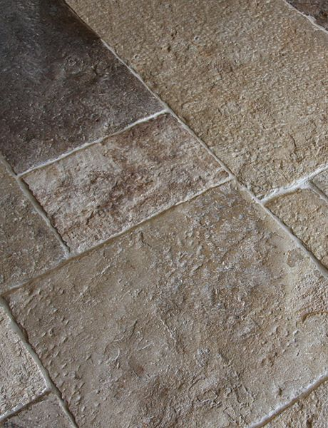 Genuine Antique Stone Tiles and Flagstones. Limestone, Marble, Jerusalem Stone with Unique Variations in Pattern, Coloration, and Patina. Salvaged from French and Spanish Homes, Ready for Yours