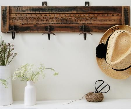This Yardstick Coat Rack with 4 hooks makes a great vintage statement.