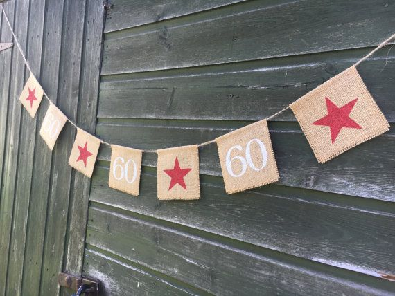 Burlap 60th birthday or anniversary burlap by FreshwellsDesigns