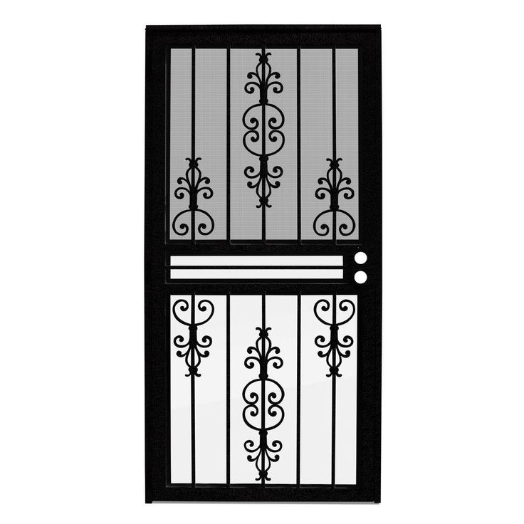 Unique Home Designs 36 In. X 80 In. Estate Black Recessed Mount All Season Security  Door With Insect Screen And Glass Inserts, Powder Coat Black