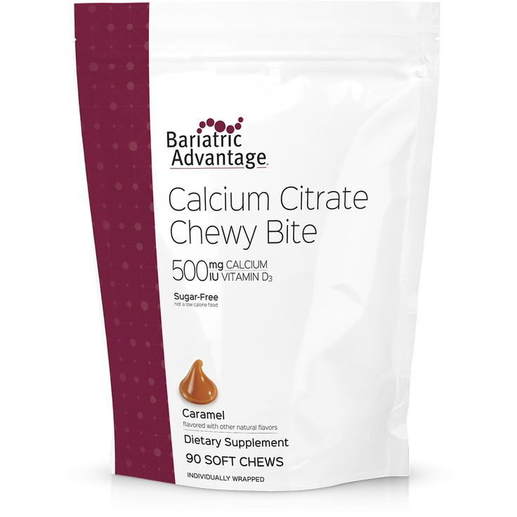 Bariatric Advantage Calcium Citrate Chewy Bite 500 mg is specially formulated for bariatric patients, utilizing 500 mg calcium from only calcium citrate and delivering 500 IU of vitamin D3 to support calcium absorption. Available in delicious flavors like Chocolate, Caramel, Peanut Butter Chocolate, Tropical Orange, and Strawberry. Sugar-free. Individually wrapped.
