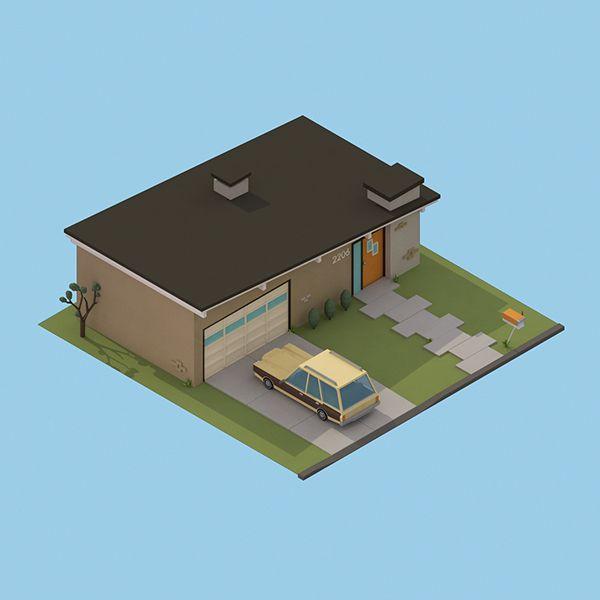 '30 isometric renders in 30 days' Round 2 on Behance - Mid Century Home
