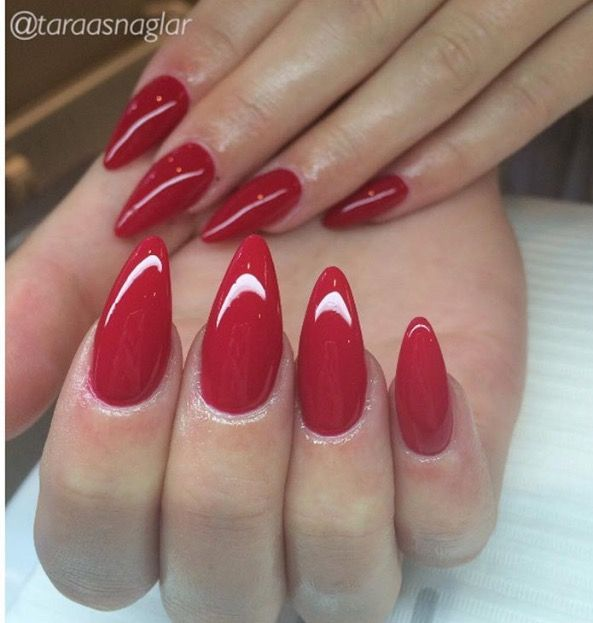 Dark red stiletto nails will be my go to colour this fall