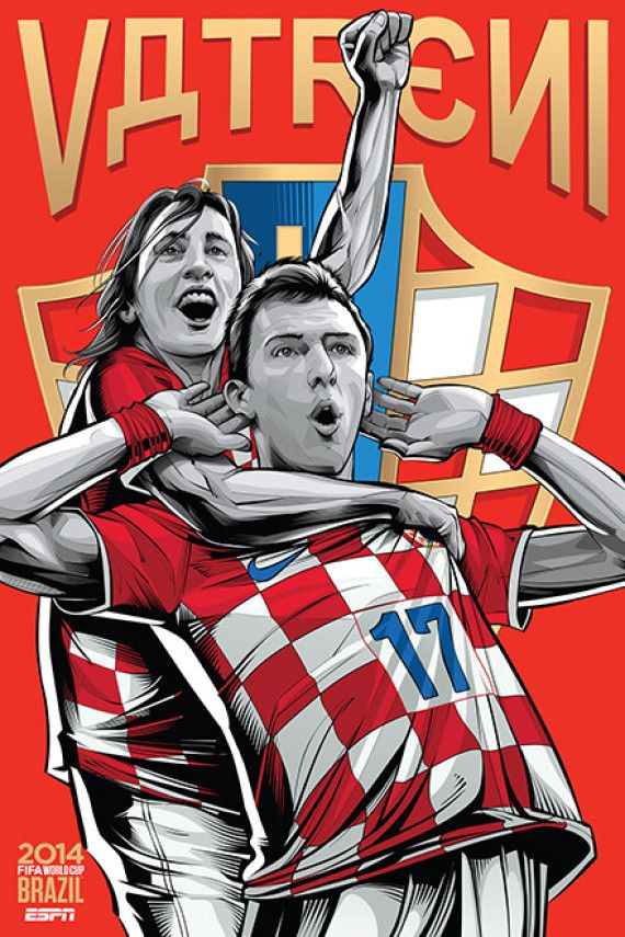 Croacia - Croatia, Afiches fútbol Copa Mundial Brasil 2014 / World Cup posters by Cristiano Siqueira