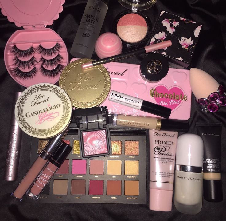 House of lash and case, and too face chocolate solie bronzer, huda Beaty texture eyes eyeshadow palette and Nyx lip lingerie liquid lipstick