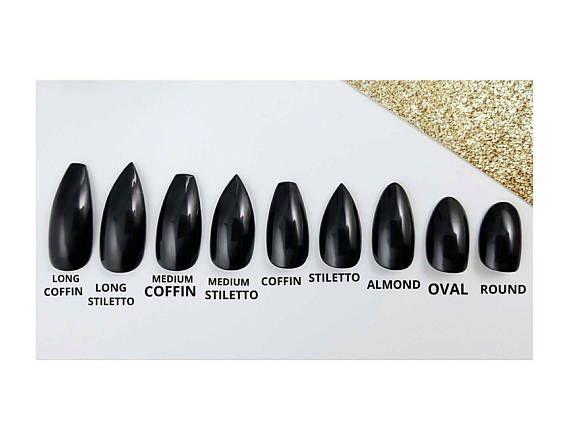 Klassische mattschwarze Nagelpresse – Beliebige Form – Nagelkleber oder Nagellaschen – Coffin Stiletto Almond Ova – Products