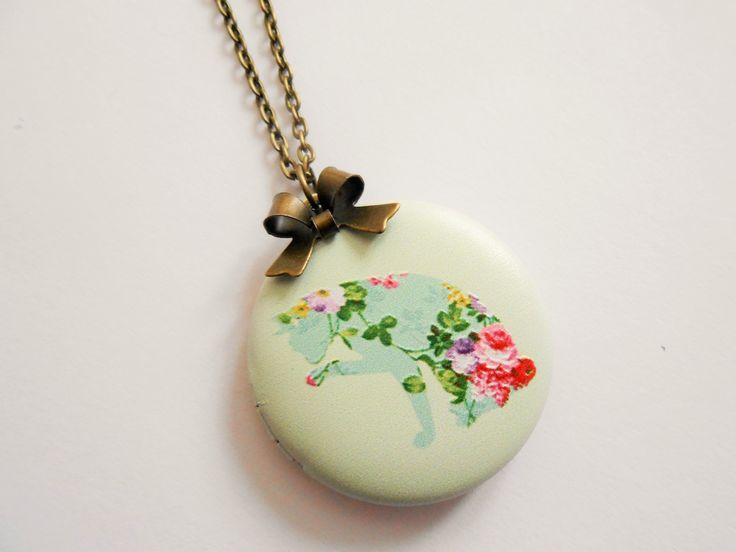 collier chat - collier porte photo - collier pendentif porte photo - collier médaillon photo - collier fleur - collier : Collier par esthete-bijoux