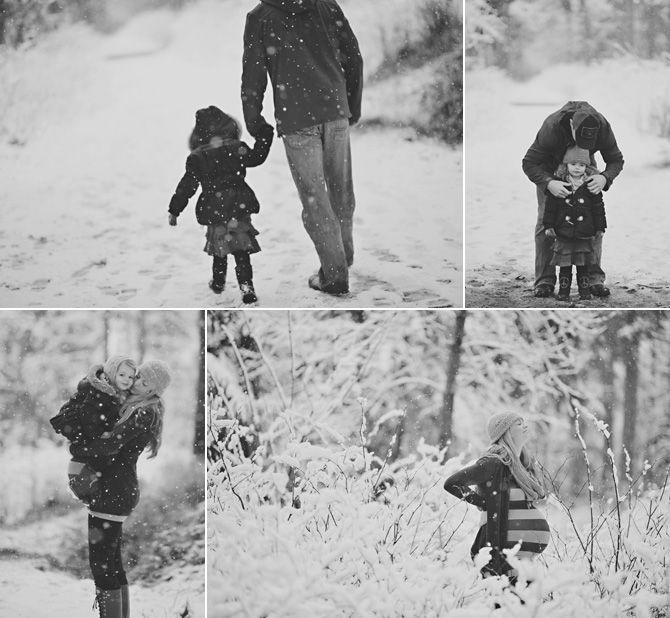family snow maternity outdoor