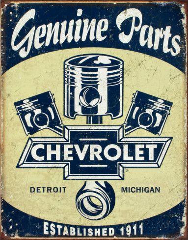Chevrolet - Chevy Genuine Parts Pistons Placa de lata na AllPosters.com.br