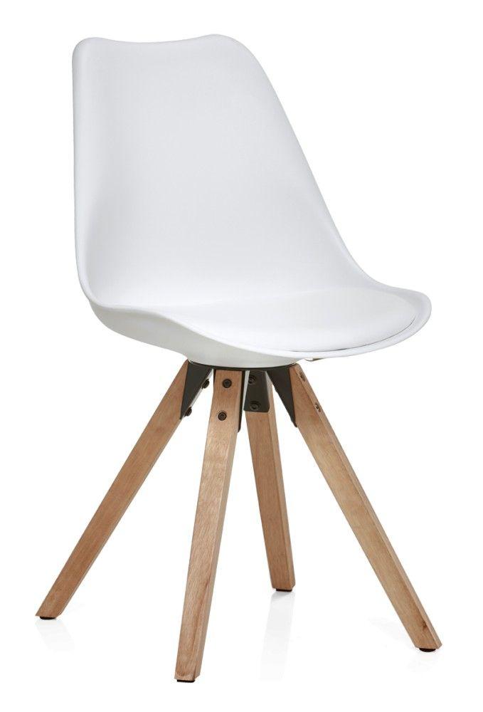 Valkoinen kuppituoli, tammenväriset jalat