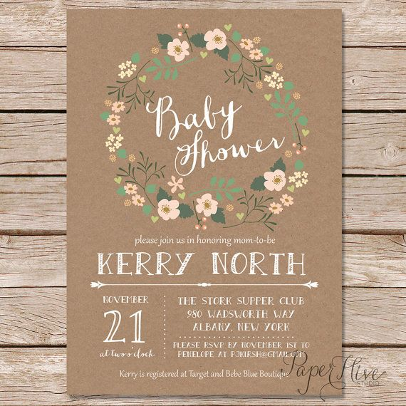rustic baby shower invitation and baby wishes set / by paperhive