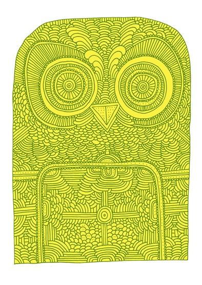 owl by hand: Owl Stuff, Groovi Owli, Supermundan Food, Owl Prints, Art Prints, Prints Inspiration, Green Owl, Color Chartreuse, Decor Owl