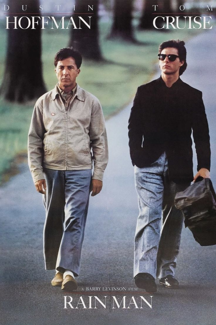 Rain Man (1988 Dustin Hoffman, Tom Cruise. Fast-talking yuppie Charlie Babbitt is forced to slow down when he embarks on a life-changing cross-country odyssey with the brother he never knew he had, an autistic savant named Raymond who's spent most of his life in an institution...13