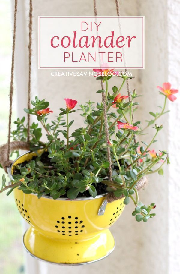 Repurpose an old kitchen strainer into these adorable DIY Colander Planters! They bring Spring and Summer color to your back patio with a charming farmhouse look. Also a great mothers day gift or hostess gift idea!
